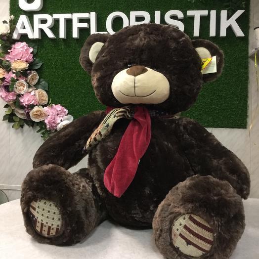 Мягкая игрушка «Бурый мишка в шарфике»: букеты цветов на заказ Flowwow