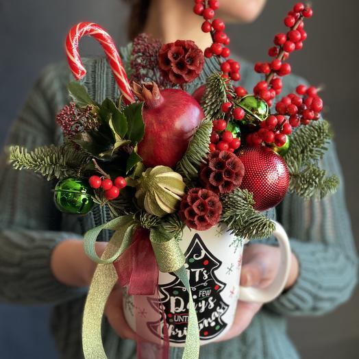 Big Christmas mug🎄: flowers to order Flowwow