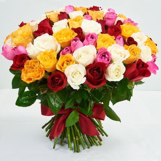 Охапка из кенийских роз (101 шт): букеты цветов на заказ Flowwow