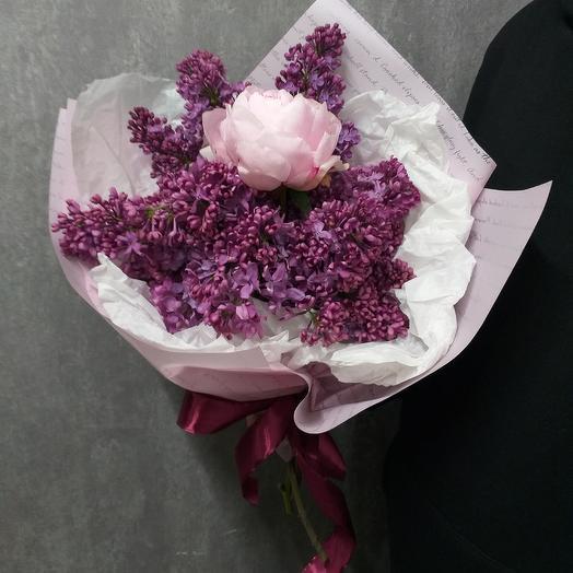 Букет из сирени и пиона: букеты цветов на заказ Flowwow
