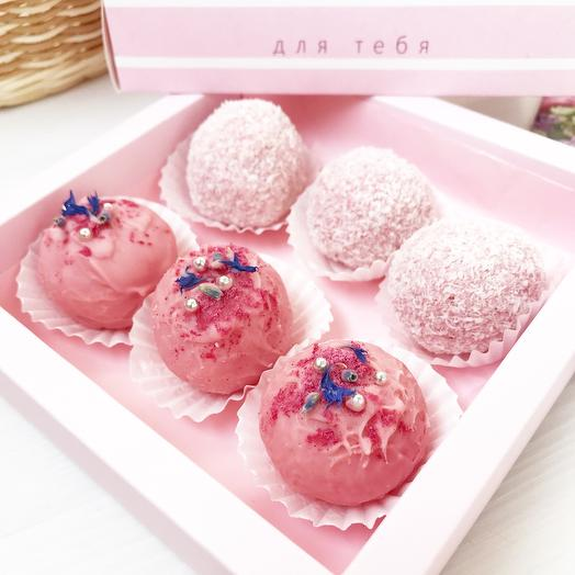 «Розовое облако» трюфель ручной работы 2х видов: клубника со сливками, малина со сливками
