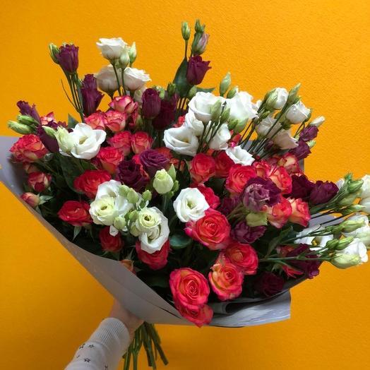 Эустома с розой кустовой