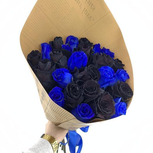 25 черные и синие розы микс