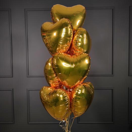 Золотые фольгированные сердца 10 шт