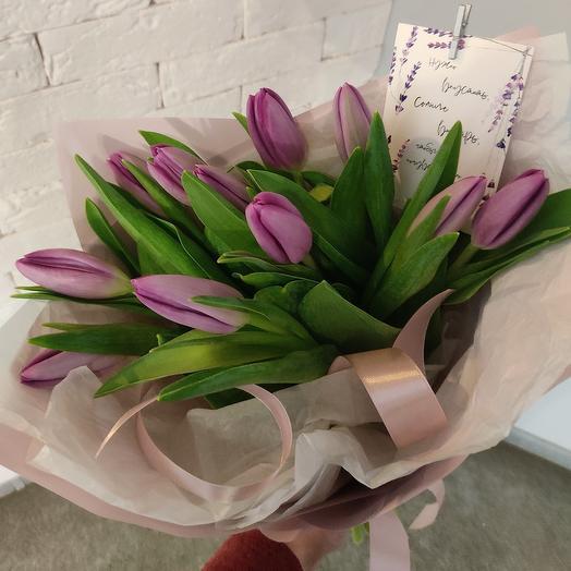 11 тюльпанов в нежном оформлении
