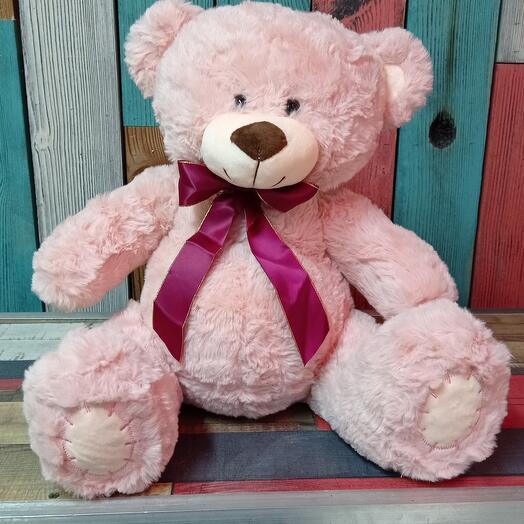 Медведь розовый с бантом