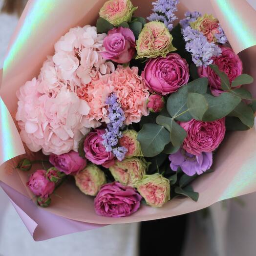 Romantic bouquet with hydrangea