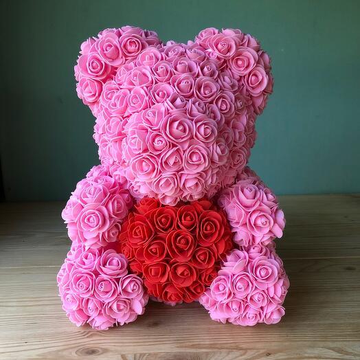 Flowers Lovers - мишка из роз из фомиарана розовый с красным сердцем