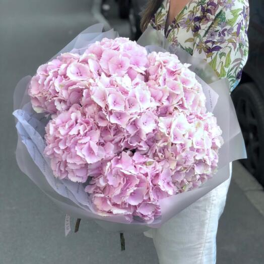 Букет из розовых гортензий