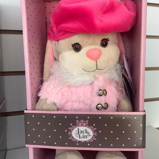 Jack Lin Bunny stuffed toy in a box