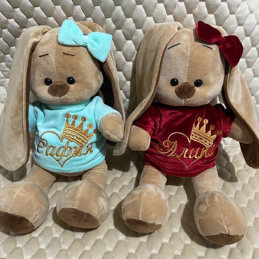 Зайка Ми с именной вышивкой ( все игрушки под заказ с индивидуальной вышивкой