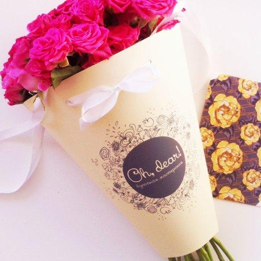 Букет в конверте из розовой кустовой розы: букеты цветов на заказ Flowwow