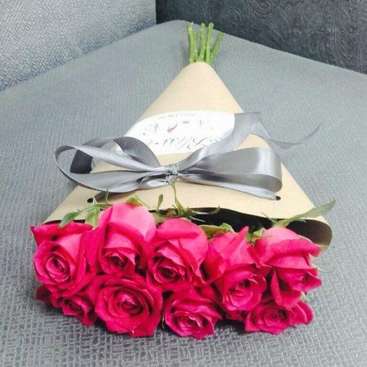 9 Малиновых высоких (85 см) роз в крафте