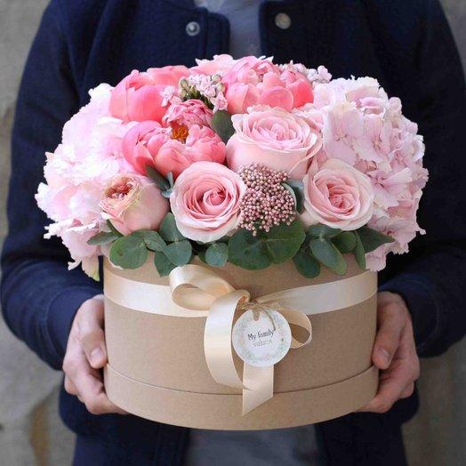 Цветы в коробке L (25 см) 0568