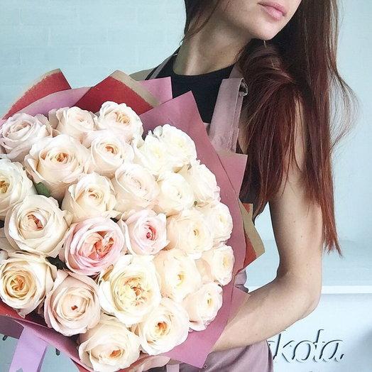 Букет пионовидных роз Анжи романтика: букеты цветов на заказ Flowwow