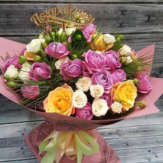 Большой букет из пионовидных роз Мисти Баблс