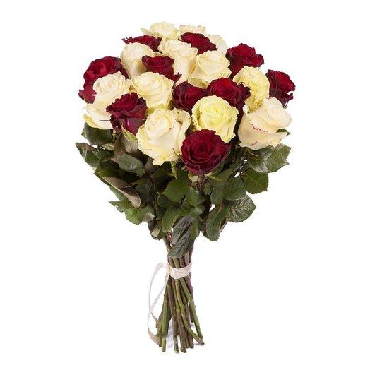 Красно-Белая роза 60см: букеты цветов на заказ Flowwow