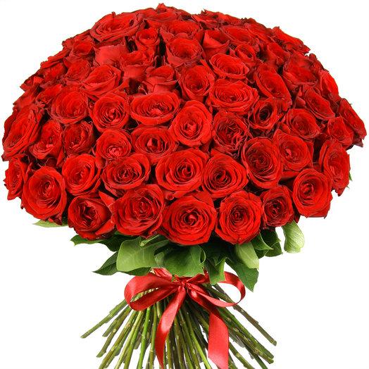"""101 красная роза """"Ред Наоми"""": букеты цветов на заказ Flowwow"""