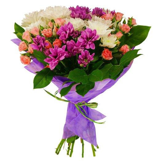 Букет из кустовых роз и хризантем: букеты цветов на заказ Flowwow