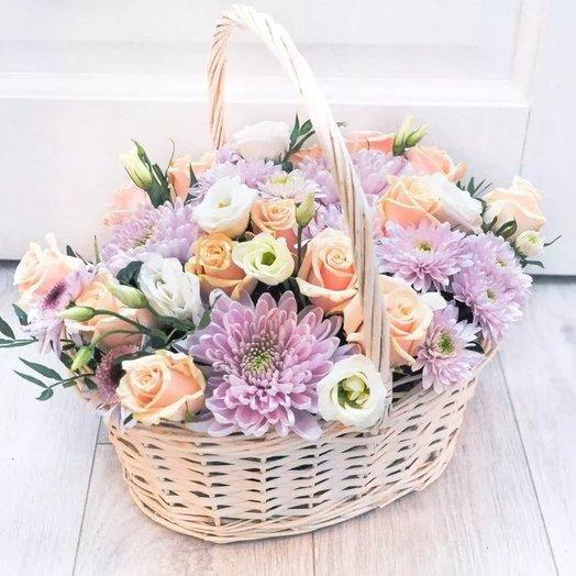 """Корзина """"Мои нежные чувства"""" из роз, хризантем, эустомы. Код 180089: букеты цветов на заказ Flowwow"""
