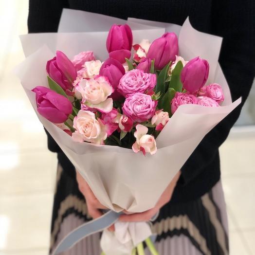 Букет - розы и тюльпаны