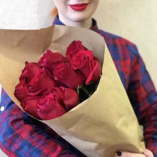 Букет красных роз  , 9 шт ,70см: букеты цветов на заказ Flowwow