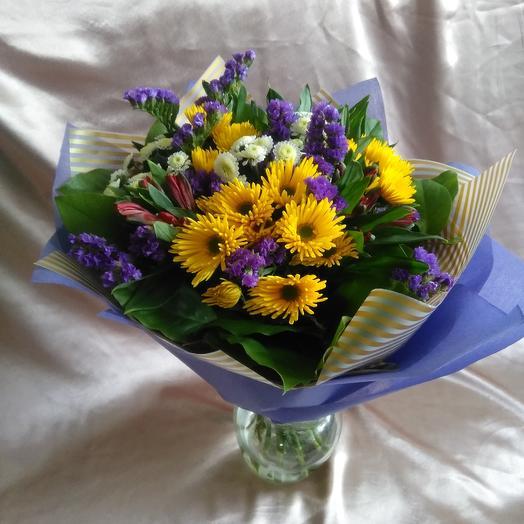 Букет из хризантем и альстромерий: букеты цветов на заказ Flowwow