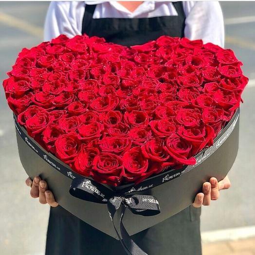 Огромная коробка «Сердце»: букеты цветов на заказ Flowwow