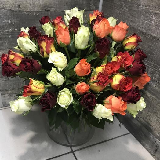 51 роза MIX: букеты цветов на заказ Flowwow