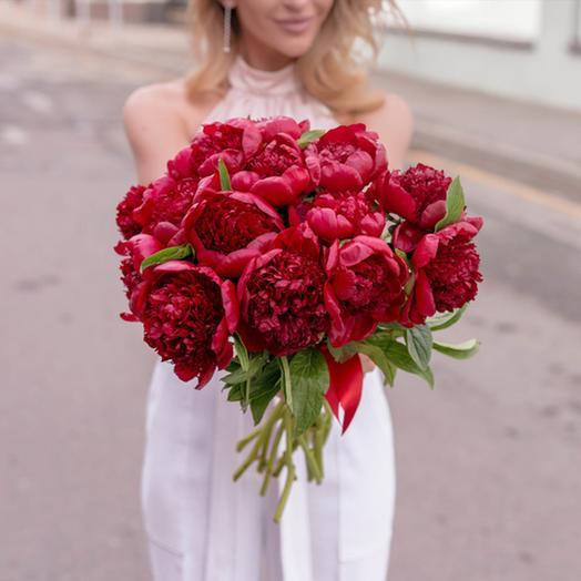 """Букет """"15 Красных Пионов"""": букеты цветов на заказ Flowwow"""