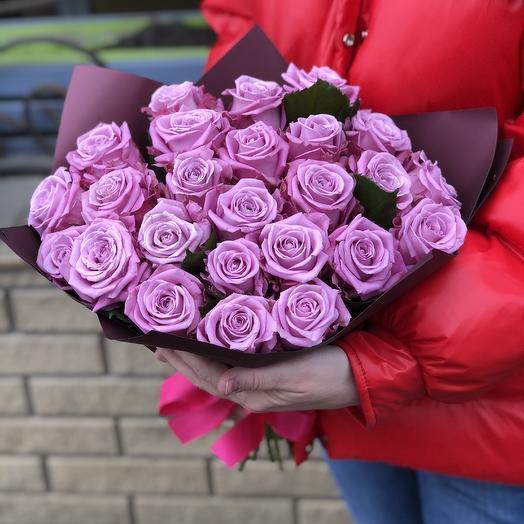 Букет из 25 роз в лиловом: букеты цветов на заказ Flowwow