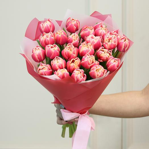 25 розовых пионовидных тюльпанов