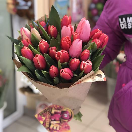 Букет хрустящих Тюльпанов в крафте