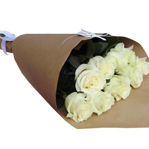 Роза Аваланж 50 см, 9 шт. в крафте