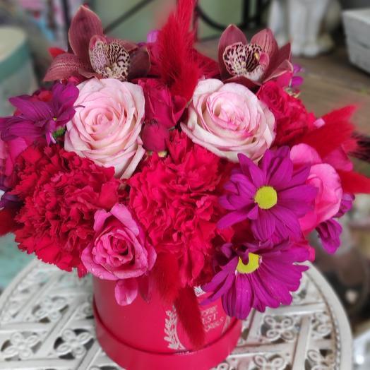 Мулен Руж/коробка с цветамм: букеты цветов на заказ Flowwow
