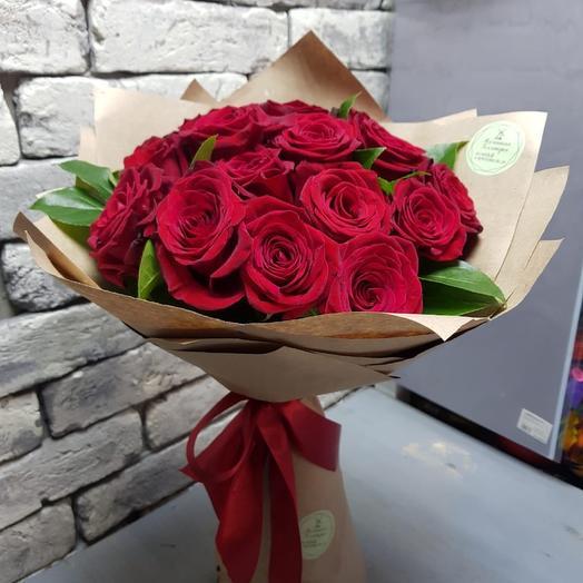 Бордовая Роза 15 шт в Крафте