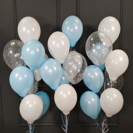 Воздушные бело-голубые и прозрачные шары с серебряными блестками