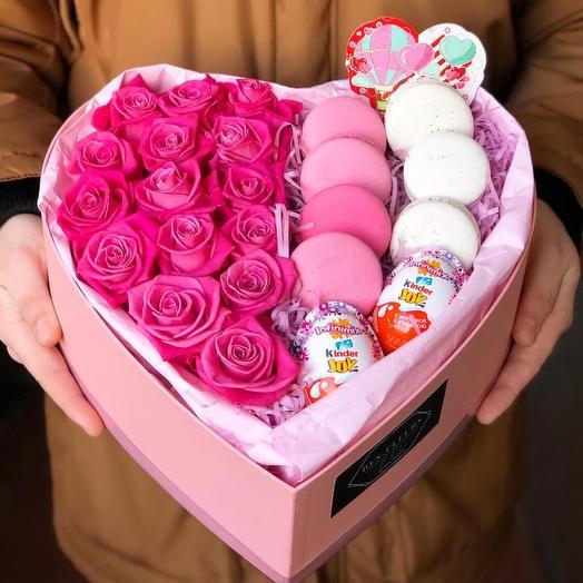 Букет Розы в коробке « Романтик «