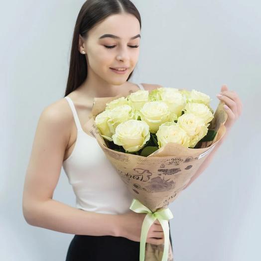 Букет 15 белых роз премиум