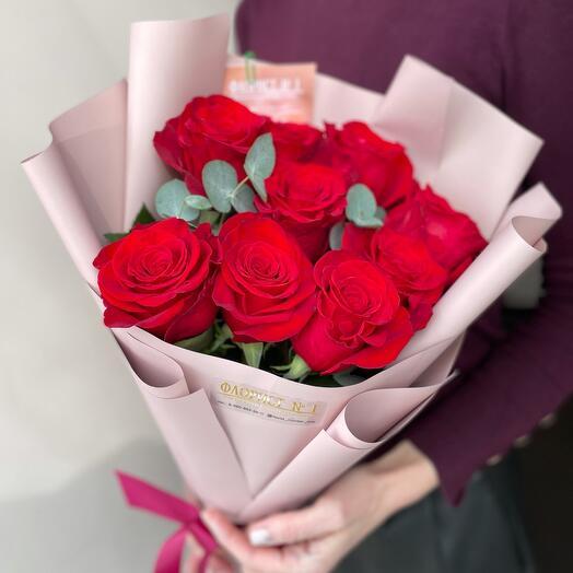 Букет из красных роз - 9шт