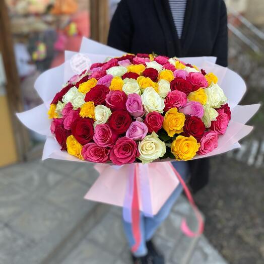 101 Роза яркий микс в упаковке