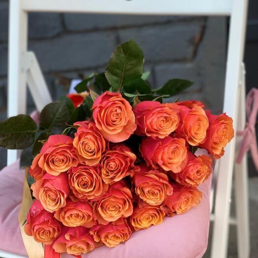 Монобукет 19 Оранжевых роз 60см