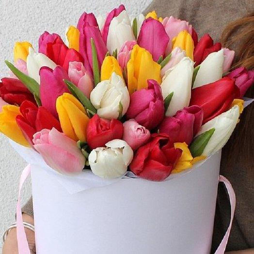 Шляпная коробка с тюльпанами микс