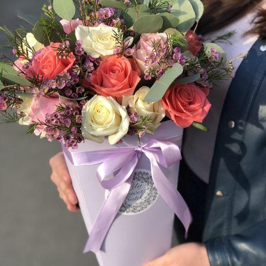 Кашпо с розами: букеты цветов на заказ Flowwow