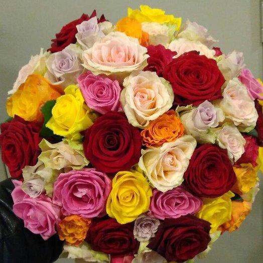 Роза микс 51 шт: букеты цветов на заказ Flowwow