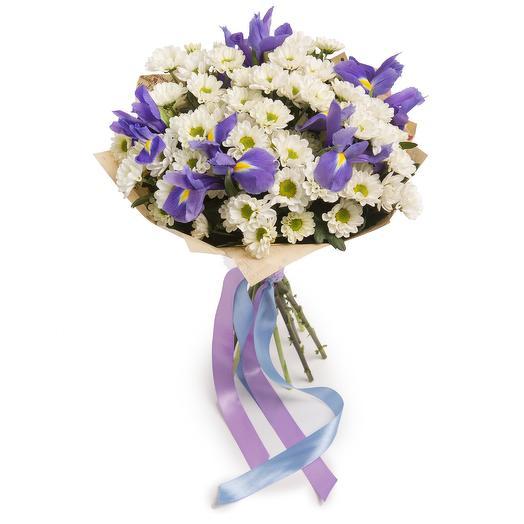 Букет из хризантем и ирисов: букеты цветов на заказ Flowwow