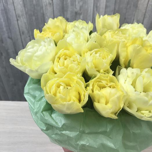 Букет 15 пионовидных тюльпанов в коробке: букеты цветов на заказ Flowwow