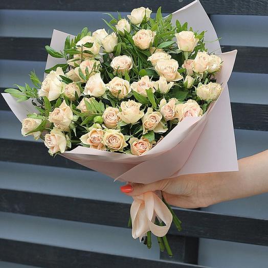 """Букет из кустовых рох """"Миндальный вихрь"""": букеты цветов на заказ Flowwow"""