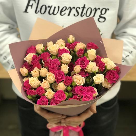 Кустовые розы. Монобукет. N380