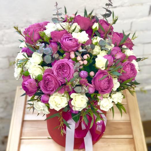 """Шляпная коробка """"Весенний Романс"""": букеты цветов на заказ Flowwow"""